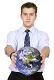 business man holding globe poster