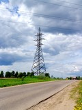 electric tower and road. poster