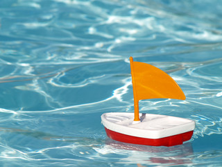 sailboat in swimming pool