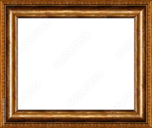 poster of antique rustic dark golden picture frame isolated