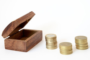 coffer with currencies to save