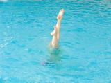 bathing in pool poster
