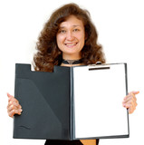 business woman holding a file folder isolated poster