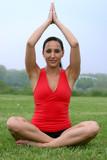 beautiful brunette yoga instructor poster