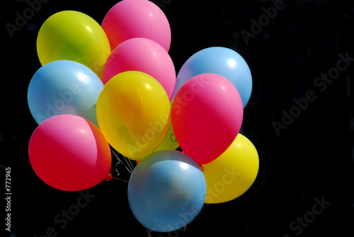 canvas print picture colorful balloons on black