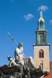 saint marien kirche and neptunbrunnen, berlin, germany poster