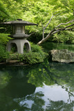japanese garden and pond poster