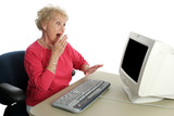 senior lady online - shocked poster