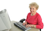 senior lady enjoys computer poster
