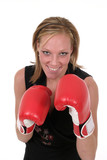 beautiful business woman in boxing gloves 5b poster