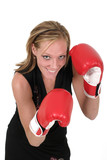 beautiful business woman in boxing gloves 6 poster
