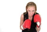 beautiful business woman in boxing gloves 8b poster
