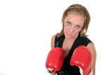 beautiful business woman in boxing gloves 9b poster
