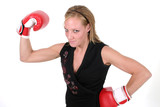 beautiful business woman in boxing gloves poster