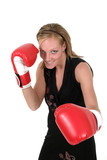 beautiful business woman in boxing gloves 1 poster