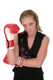 beautiful business woman in boxing gloves 2 poster