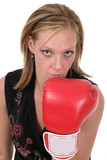 beautiful business woman in boxing gloves 3 poster