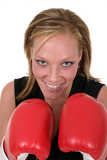 beautiful business woman in boxing gloves 5 poster