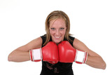 beautiful business woman in boxing gloves 7 poster