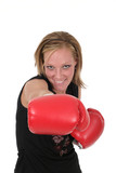 beautiful business woman in boxing gloves 8 poster