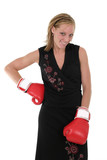 beautiful business woman in boxing gloves 10 poster