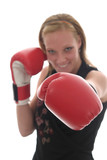 beautiful business woman in boxing gloves 6c poster