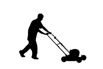 silhouette of teenager mowing lawn w/clipping path