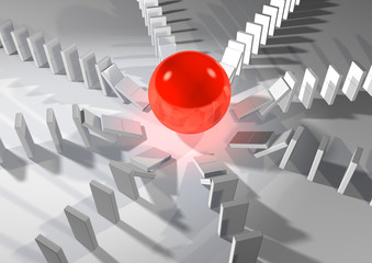 red ball in center of white dominos