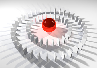 red bal in the center of domino circles