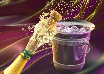 champagne explosion with cork