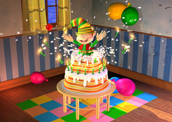 elf is jumping out of a big birthday cake