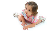 little girl on the floor with a beautiful expression poster