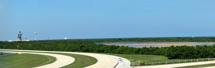 panorama view of launch stations, cape canaveral