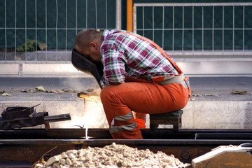 construction worker welding