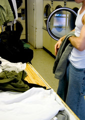 laundromat folding clothes