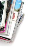 stack of magazine closeup poster