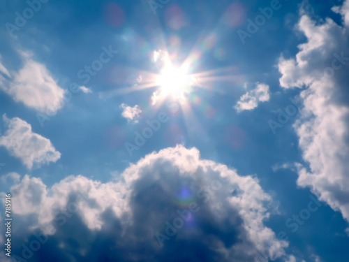 poster of blue sky and sun rays