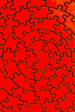 complete jigsaw in red poster