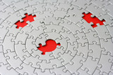 three missing pieces in a grey jigsaw poster