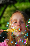 young girl soap bubbles poster