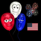 smiley balloons - patriotic poster