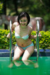 asian woman at swimming pool