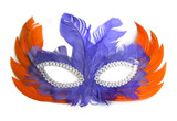 carnival mask, orange and purple feathers poster