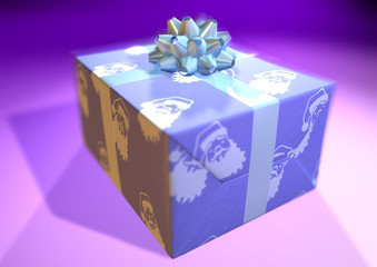present whith colored blue paper