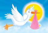 white stork with newborn baby poster