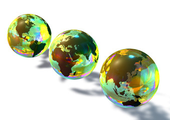 3 multicolor glass marbles showing asia africa usa