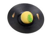 lemon shape cake on a wooden plate-clipping path poster