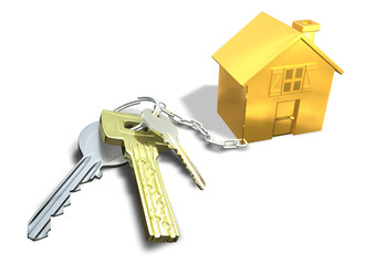 key ring with different key linked to gold house.