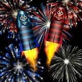 smiley fireworks rockets poster