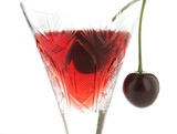 sour cherry cocktail in glass poster